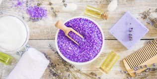 Sea salt with lavender extract. Selective focus Royalty Free Stock Photo