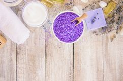 Sea salt with lavender extract. Selective focus Stock Image