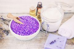 Sea salt with lavender extract. Selective focus Stock Photos