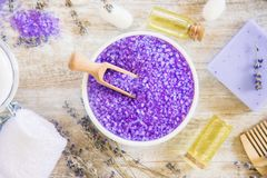 Sea salt with lavender extract. Selective focus Stock Photo
