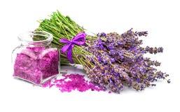Sea salt with lavender Royalty Free Stock Photos