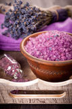 Sea salt and lavender spa Royalty Free Stock Photo