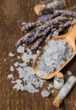 Sea salt with lavender on a wood Stock Photo