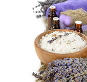 Sea salt with lavender in a wooden bowl Stock Image