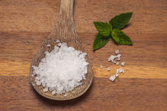 Sea salt and a leaf. Royalty Free Stock Photo