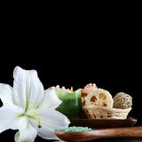 Sea salt and lily flower Stock Images
