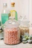 Sea salt, liquid soap and essential oil Royalty Free Stock Photos