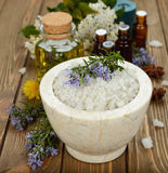 Sea salt in a marble bowl Royalty Free Stock Photo