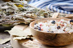 Sea salt mix with juniper berries and rosemary Stock Photography