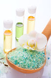 Sea salt with orchid and organic oil Royalty Free Stock Images