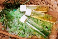 Sea salt  and organic oil Stock Photography