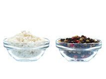Sea salt and pepper in glass bowl Royalty Free Stock Photography