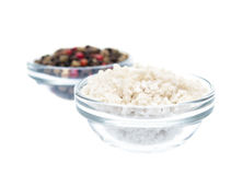 Sea salt and pepper in glass bowl Royalty Free Stock Images