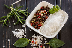 Sea salt ,pepper,scented herb rosemary and mint leaves on wooden Stock Images
