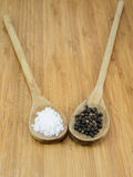 Sea Salt and Pepper in Wooden Spoons Stock Photos