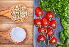 Sea salt, peppercorns, herbs and cherry tomatoes Royalty Free Stock Photos