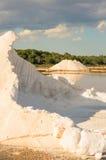 Sea salt piles at Mallorka, Balearic islands, Spain Royalty Free Stock Images