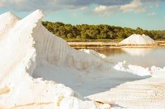 Sea salt piles at Mallorka, Balearic islands, Spain Stock Image