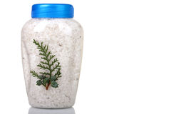 Sea salt in a plastic pot Royalty Free Stock Photos