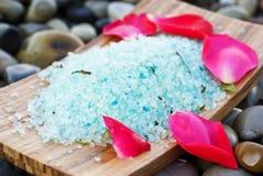 Sea salt with rose petals Stock Photography