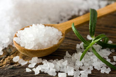 Sea salt and rosemary Stock Photos