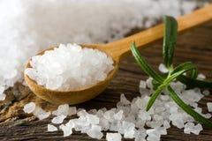 Sea salt and rosemary. Sea salt on wooden spoon Stock Photos
