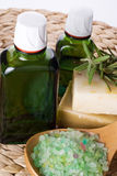 Sea salt with rosemary and organic oil Stock Photo