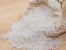 Sea salt sack. On wood board royalty free stock photos