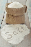 Sea salt in sack Stock Image