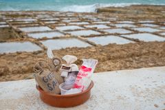 Sea salt for sale at Marsalforn Gozo royalty free stock image