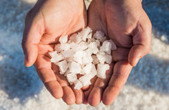 Sea salt, salt flakes, Sicily, Italy. Stock Photo