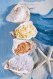 Sea salt in sea shell oyster on blue Stock Image