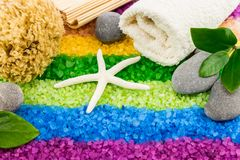 Sea salt with shell, bath towel, stones, coral sponge, mat and l Stock Photo