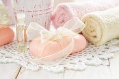 Sea salt and soap Stock Image