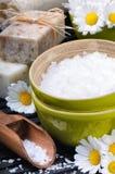 Sea salt, soap and daisies Stock Photos