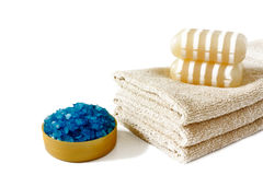 Sea salt, soap and  towels Stock Image