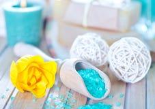 Sea salt and soap Stock Photo