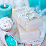 Sea salt and soap Royalty Free Stock Image