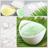 Sea Salt Spa Collage. Sea White, Green and Yellow Salt Spa Collage Royalty Free Stock Photography