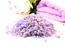 Sea salt spa and soap lavender scent on white background Stock Photography