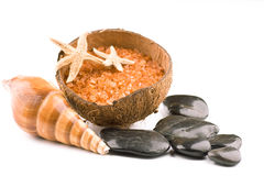 Sea salt spa with zen stones Stock Image