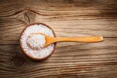 Sea Salt in a spoon and bowl Stock Photo