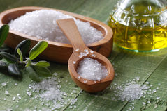 Sea salt in the spoon Royalty Free Stock Images