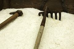 Sea salt stored for processed and old tools. In Santa Pola, Spain Royalty Free Stock Photography