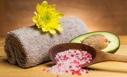 Sea salt, towel and avocado Stock Photos