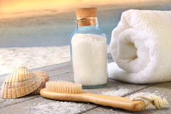Sea salt with towel at the beach Royalty Free Stock Photos