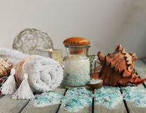 Sea salt, towel, shells for all spa Royalty Free Stock Photography