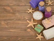 Sea salt, towel and starfish Stock Photo