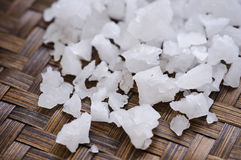 Sea salt on weaving bamboo Stock Images