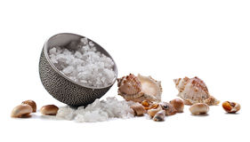 Sea salt  on  white background Stock Photos